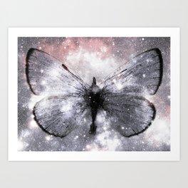 Celestial Butterfly Pink Gray Art Print