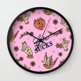 Love Sucks Pattern Wall Clock