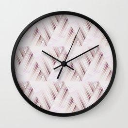 Abstract geometric pattern.Pinkish beige striped triangles . Wall Clock