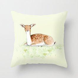 Happy Fallow Deer Throw Pillow