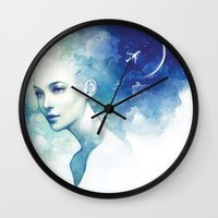 flight Wall Clocks featuring Flight by Anna Dittmann