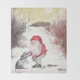 Gnome and mouse Throw Blanket