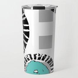 Wedge Circle on Gray Check Travel Mug
