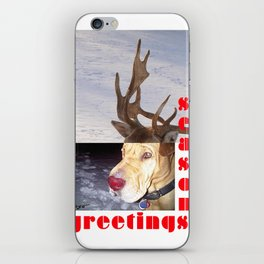 """PLaY-Do'LPH, seasons greetings"" from the photo series""My dog, PLaY-DoH"" iPhone Skin"