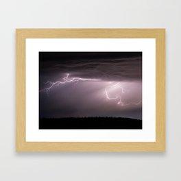 Summer Lightning Storm On The Prairie VI - Nature Landscape Framed Art Print