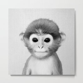 Baby Monkey - Black & White Metal Print