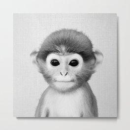 Baby Monkey - Black & White Metal Print
