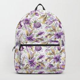 violet garden floral pattern Backpack