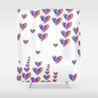 tetris Shower Curtains featuring Love Tetris by Len Tierra
