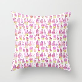 Girly blush pink coral watercolor hand painted cactus floral pattern Throw Pillow