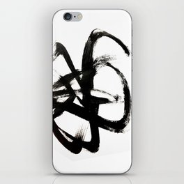 Brushstroke 4 - a simple black and white ink design iPhone Skin
