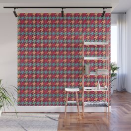 Happy Red Houndstooth Pattern Wall Mural