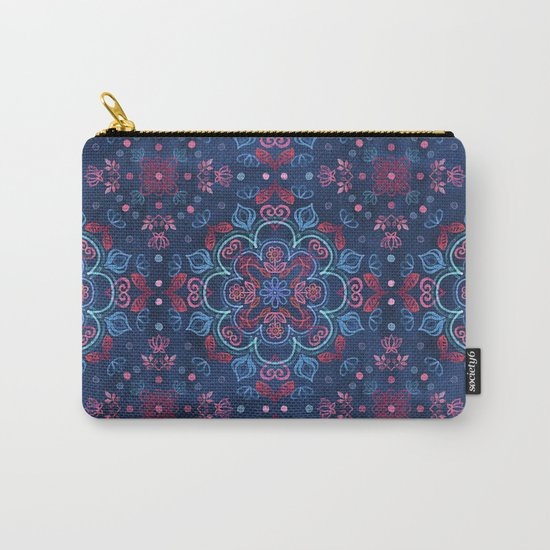 Cherry Red & Navy Blue Watercolor Floral Pattern Carry-All Pouch