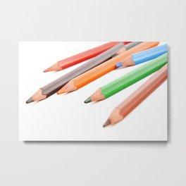 Assorted colored pencils Metal Print