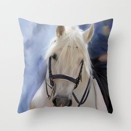 Painted White Horse head Throw Pillow