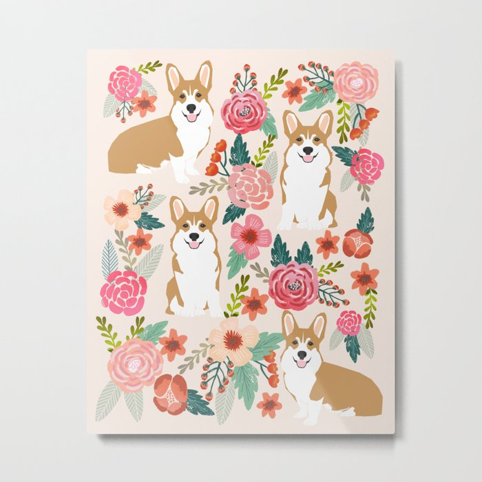 Corgi floral spring bloom flowers nature garden dog dog breeds corgis cute corgi puppies love  Metal Print