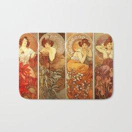 "Alphonse Mucha ""The Gem Series - Ruby, Amethyst, Emerald, Topaz"" Bath Mat"