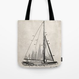 Sailboat Patent - Yacht Art - Antique Tote Bag