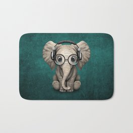 Cute Baby Elephant Dj Wearing Headphones and Glasses on Blue Bath Mat