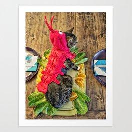Lobster Cat Art Print