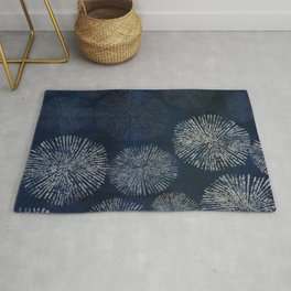 Denim Blue Shibori Sea Urchin Burst Pattern Rug