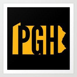 Pittsburgh PGH Pennsylvania Map State 412 Steel City Pride Art Print