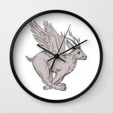 Wolpertinger Running Side Drawing Wall Clock