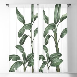 Banana Leaf Trees - Tropical Watercolour Trees illustration Blackout Curtain
