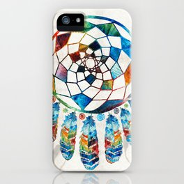 Native American Colorful Dream Catcher by Sharon Cummings iPhone Case