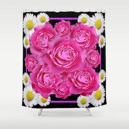 Black Pink on Pink Roses Purple Fuchsia & Daisy Flowers Art Design Shower Curtain