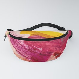 Pink Lemonade: a minimal, colorful abstract mixed media with bold strokes of pinks, and yellow Fanny Pack