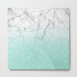 Azure Glitter and Grey Marble Metal Print