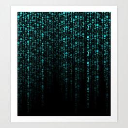 Bright Neon Aqua Blue Digital Cocktail Party Art Print