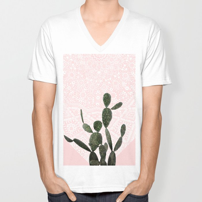 Cactus on Pink and Persian Mosaic Wall Unisex V-Neck