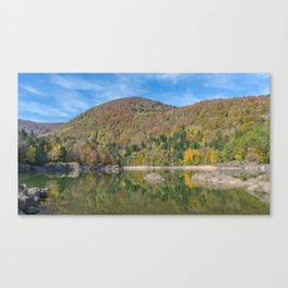 Autumn lake view in France Canvas Print