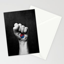 South Korean Flag on a Raised Clenched Fist Stationery Cards