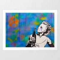 Anna Kissed Original Graffiti Art by Drunk Wolf Art Print