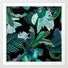 Midnight Iris / Black Art Print