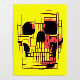 Pixelated skull Poster