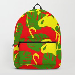 Flamingos and Monstera Pattern D Backpack