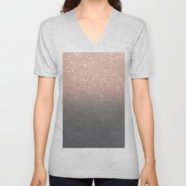 Rose gold glitter ombre grey cement concrete Unisex V-Neck