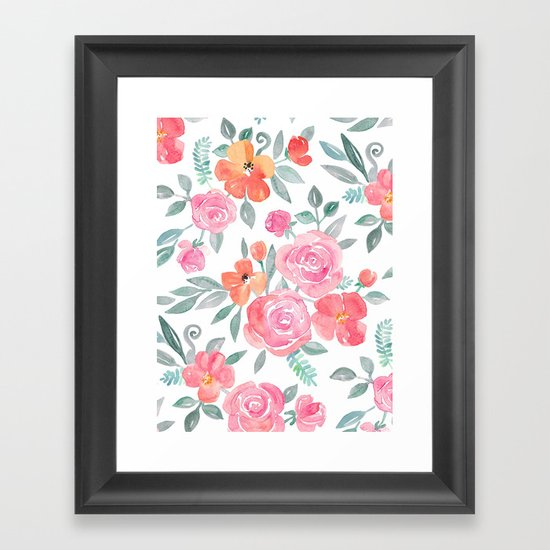 Amelia Floral in Pink and Peach Watercolor Framed Art Print