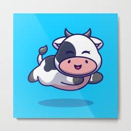 Chibi Cow Metal Print