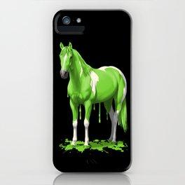 Neon Green Wet Paint Horse iPhone Case