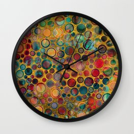 Dots on Painted and Gold Background Wall Clock