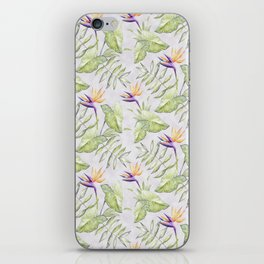 Watercolour Bird-of-Paradise Flowers and Leaves Pattern iPhone Skin