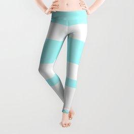 Mixed Horizontal Stripes - White and Celeste Cyan Leggings