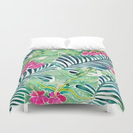 Lush Tropical Fronds & Hibiscus Duvet Cover