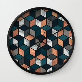 Copper, Marble and Concrete Cubes with Blue Wall Clock