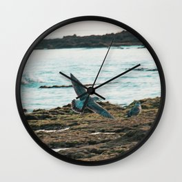 Seagull Flight by the beach Wall Clock